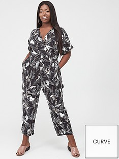 ax-paris-curve-printed-wrap-jumpsuit-blackwhite