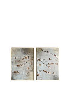 graham-brown-flock-of-birds-hand-painted-framed-canvas-prints-ndash-set-of-2
