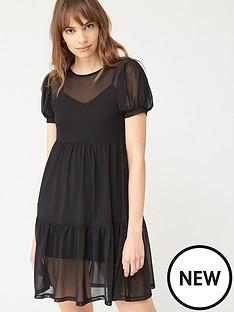 v-by-very-mesh-tiered-mini-dress-black