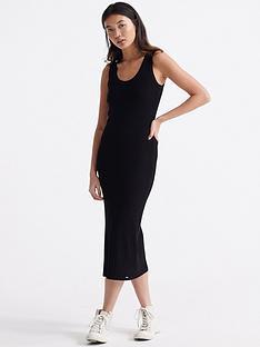 superdry-sahara-knit-midi-split-dress-black