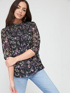 oasis-smudgy-floral-balloon-sleeve-mesh-top-multi-blue