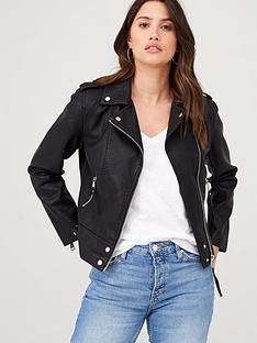 warehouse-pu-biker-jacket-black
