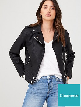 warehouse-pu-biker-jacket-black