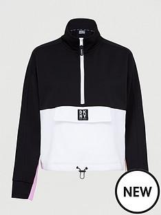dkny-sport-colour-block-half-zip-sweatshirt-blackpink