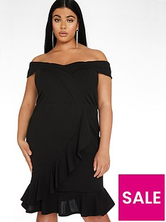 quiz-curve-bardot-frill-midi-dress-black