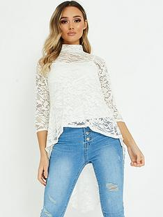 quiz-lace-dip-hem-top-cream