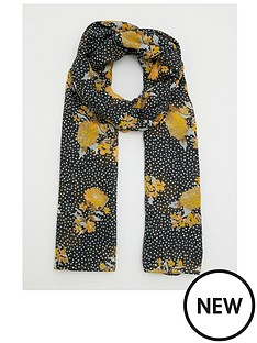 v-by-very-floral-spot-print-woven-scarf-black-yellow