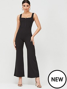 boohoo-boohoo-square-neck-hook-amp-eye-jumpsuit-black