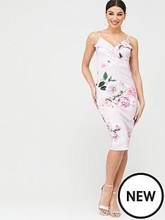boohoo-boohoo-floral-wrap-top-midi-bodycon-dress-pink