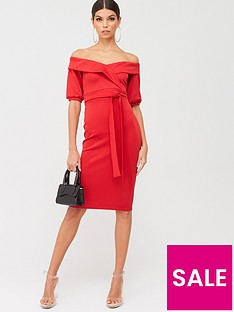 boohoo-boohoo-on-the-shoulder-tie-waist-midi-dress-red