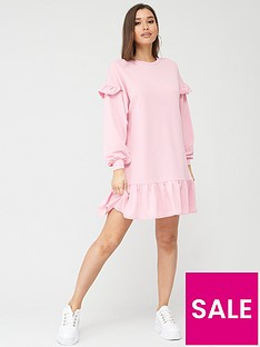 boohoo-boohoo-ruffle-sleeve-drop-hem-oversized-sweat-dress-pink