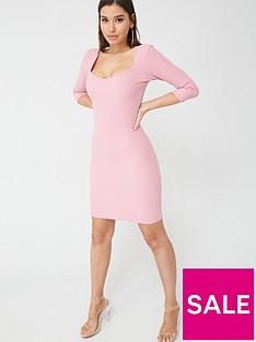 boohoo-boohoo-square-neck-rib-bodycon-dress-pink