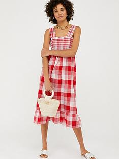 accessorize-wide-strap-smocked-gingham-dress-red