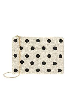 accessorize-polka-dot-zip-top-clutch-white
