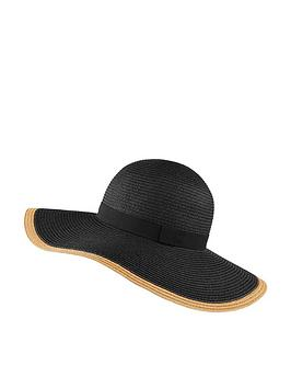 accessorize-contrast-edge-plain-floppy-hat-black