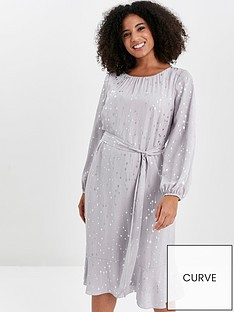 evans-silver-foil-frill-sleeve-overlay-dress-grey