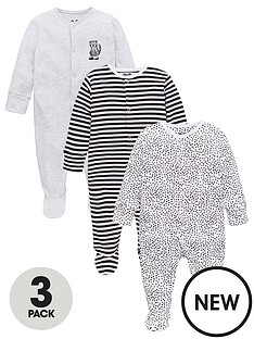 v-by-very-baby-unisex-3-pack-animal-and-stripe-sleepsuits-blackwhite