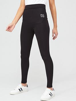 river-island-branded-fold-over-legging-black