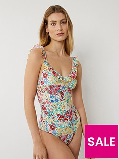 warehouse-floral-frill-swimsuit-multi
