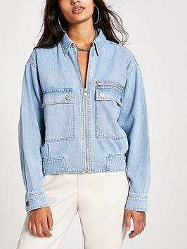 river-island-pocket-detail-zip-front-denim-jacket-blue