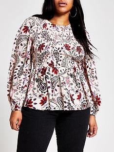 ri-plus-paisley-print-shirred-blouse-pink