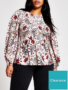 ri-plus-paisley-print-shirred-blouse-pink