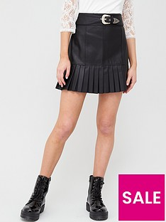 river-island-pu-western-belt-pleated-mini-skirt-black