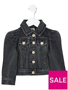 river-island-mini-girls-puff-sleeve-denim-jacket--nbspblack