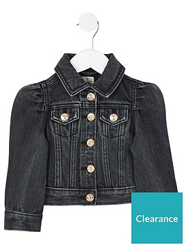 river-island-mini-girls-puff-sleeve-denim-jacket--nbspblack