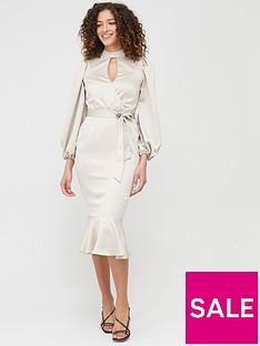 v-by-very-wrap-blouson-sleeve-satin-midi-dress