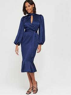 v-by-very-wrap-blouson-sleeve-satin-midi-dress-navy