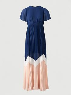 v-by-very-angel-sleeve-colour-block-maxi-dress-navy