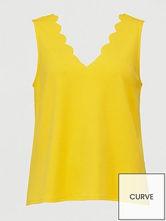 v-by-very-curve-scalloped-edge-cami-top-yellow