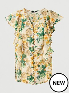 v-by-very-georgette-button-through-blouse-yellow-floral