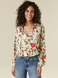 wallis-gold-flecked-poppy-print-blouse-ivory