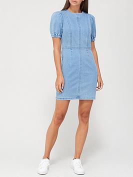 v-by-very-puff-sleeve-denim-dress-mid-wash