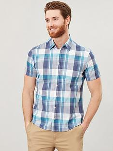joules-short-sleeve-classic-fit-check-shirt-green-check