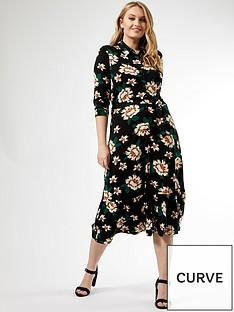 dorothy-perkins-curve-black-floral-three-quarternbspsleeve-shirt-dress-multi