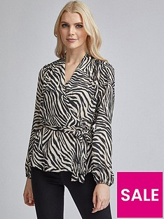 dorothy-perkins-zebra-print-balloon-sleeve-top-cream