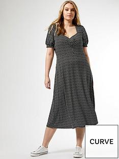 dorothy-perkins-curve-gypsy-square-neck-mono-speck-midi-dress-multi