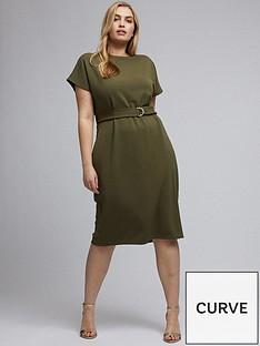 dorothy-perkins-curve-khaki-crepe-batwing-dress
