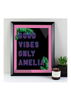 personalised-good-vibes-only-framed-print