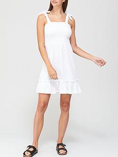 v-by-very-tie-detail-jersey-dress-white