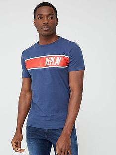 replay-panel-logo-short-sleeve-t-shirt-ndash-navy