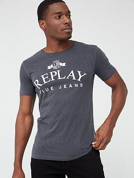 replay-blue-jeans-logo-slub-short-sleeve-t-shirt-ndash-black