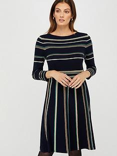 monsoon-ayanna-stripe-dress-navy
