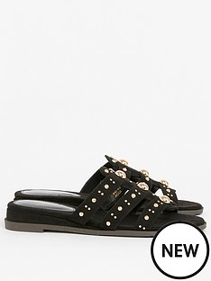 evans-extra-wide-fit-studded-sliders-black