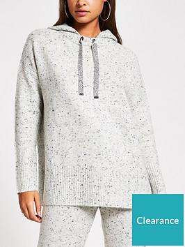river-island-diamante-drawstring-knitted-hoodie-grey