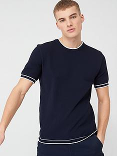 river-island-slim-fit-tipped-knitted-t-shirt-navynbsp
