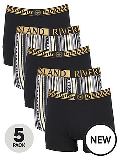 river-island-baroque-logo-5-pack-trunks-black